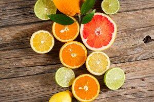 Citrus on wood.