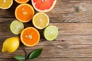 Mix of fresh citrus fruits.