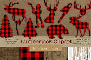 Lumberjack clipart and digital paper