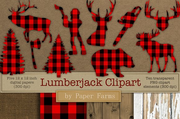 Lumberjack Clipart And Digital Paper
