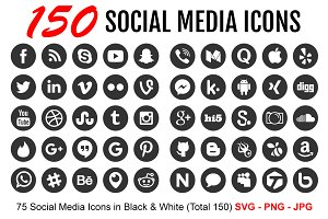 150 Clean Social Media Icons