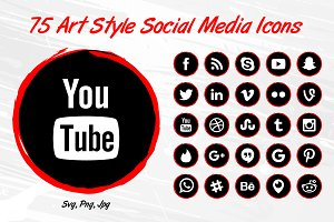 75 Art Style Social Media Icons