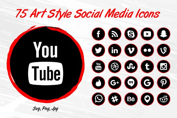 75 Art Style Social Media Icons