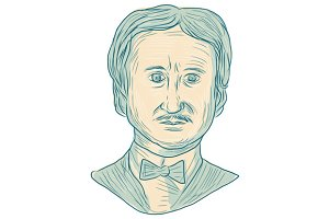 Edgar Allan Poe Writer Drawing