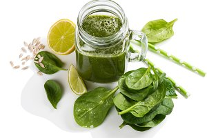 Smoothie of fresh spinach.