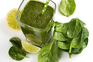 Green smoothie from spinach