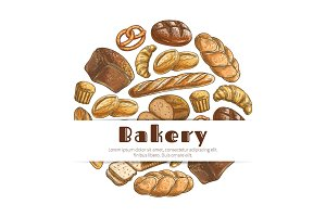 Bakery bread sketch round vector poster