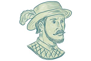 Juan Ponce de Leon Explorer Drawing