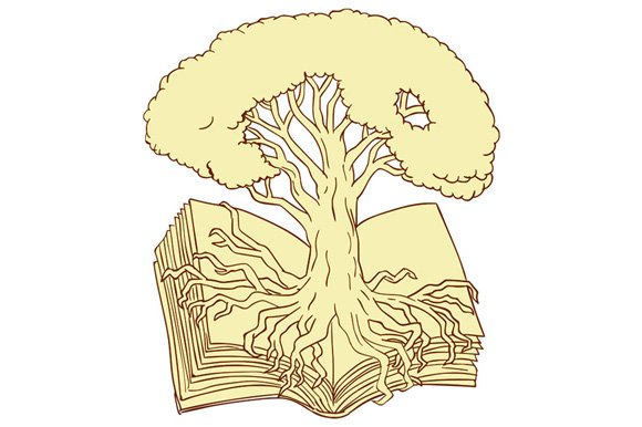 Oak Tree Rooted On Book Drawing Illustrations Creative