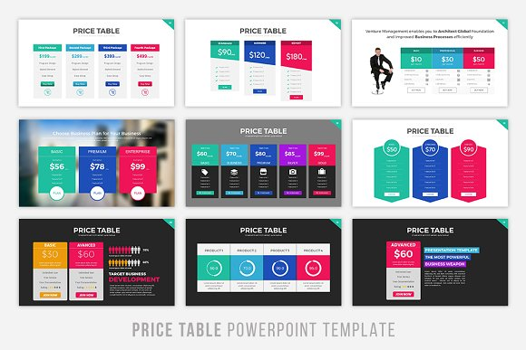 price table powerpoint template presentation templates creative