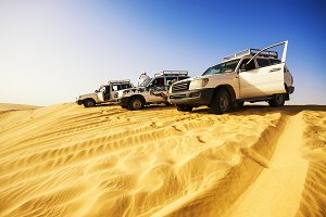 4x4 vehicles in Sahara Desert.