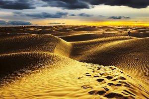 Sunset in Sahara Desert. Tunisia