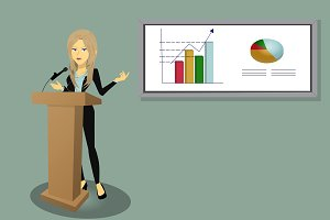 Businesswoman showing graphs