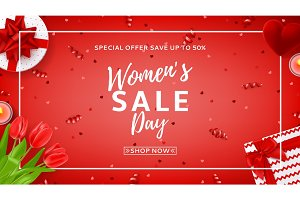 Red web banner for Women's Day sale