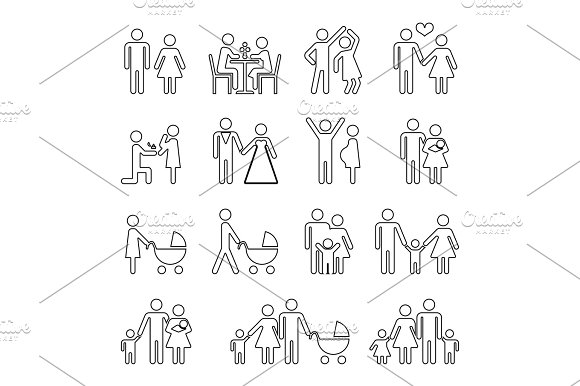 Family Vector Thin Line Icons Set In Black And White