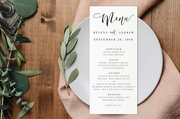 wedding menu editable pdf invitation templates creative market