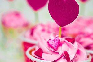 Colorful love cupcake