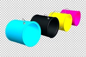 CMYK Buckets - 3D Render PNG