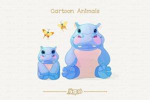 ♥ vector African Hippos