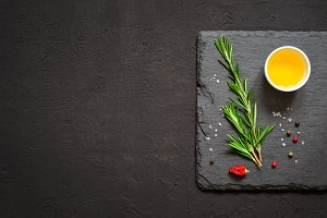 Sprigs of rosemary and olive oil