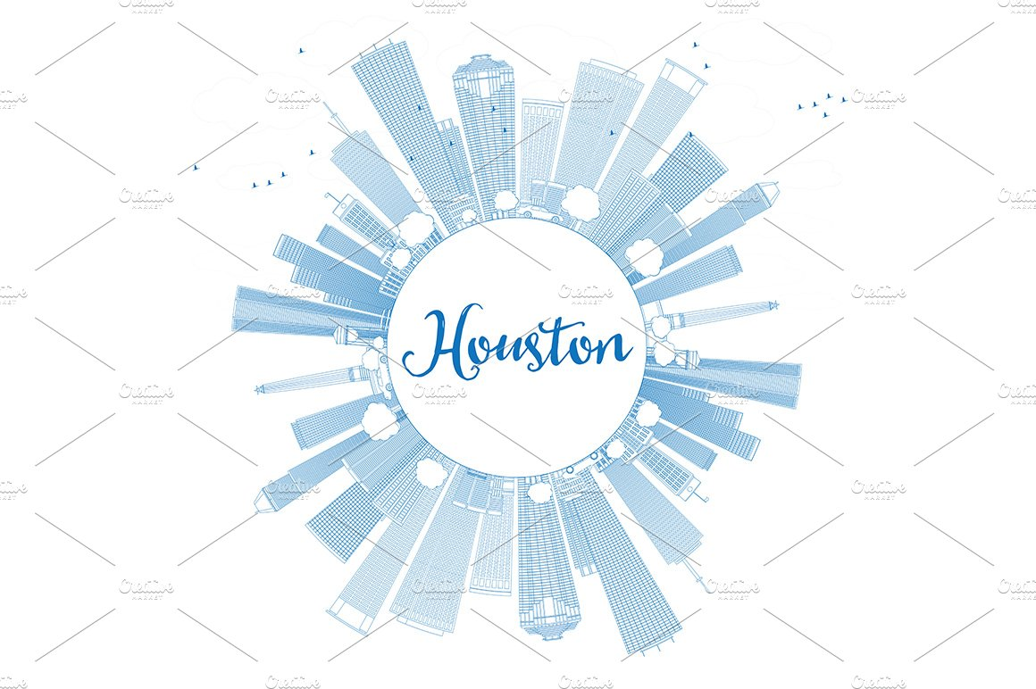 how to get a resume template on word 2010 outline houston skyline illustrations creative market 22307 | houston circle cloud outline scr