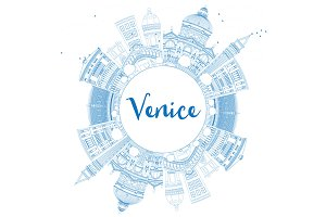 Outline Venice Skyline Silhouette