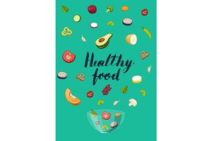 Healthy food concept with pieces of vegetable