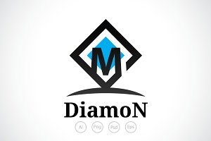 Diamond M Alphabet Logo Template