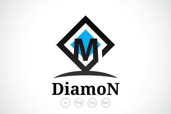 Diamond M Alphabet Logo Template Templates Creative Market