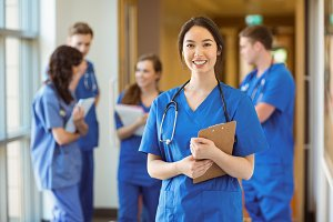 Medical student smiling at the camera