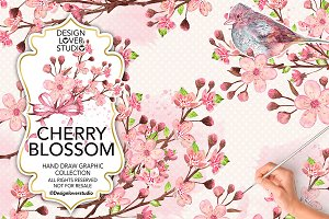 Watercolor Cherry Blossom design