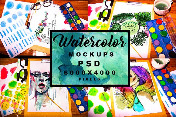 Watercolor Mockups PSD Pack