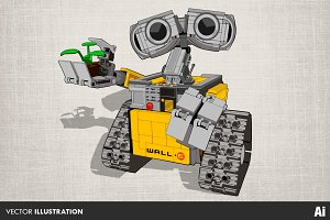 Lego Wall-e Illustration