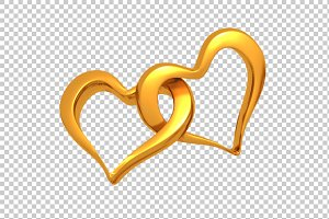 Golden Hearts - 3D Render PNG