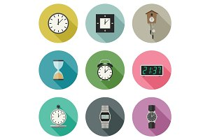 Clock icons set.