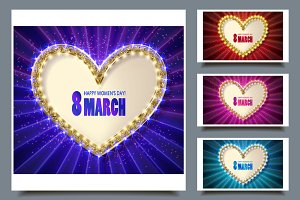 Cute greeting cards for 8 March