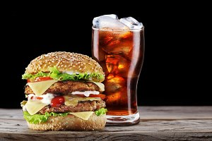 Hamburger and cola drink.