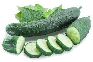 Cucumbers on the white