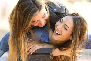 affectionate friends joking
