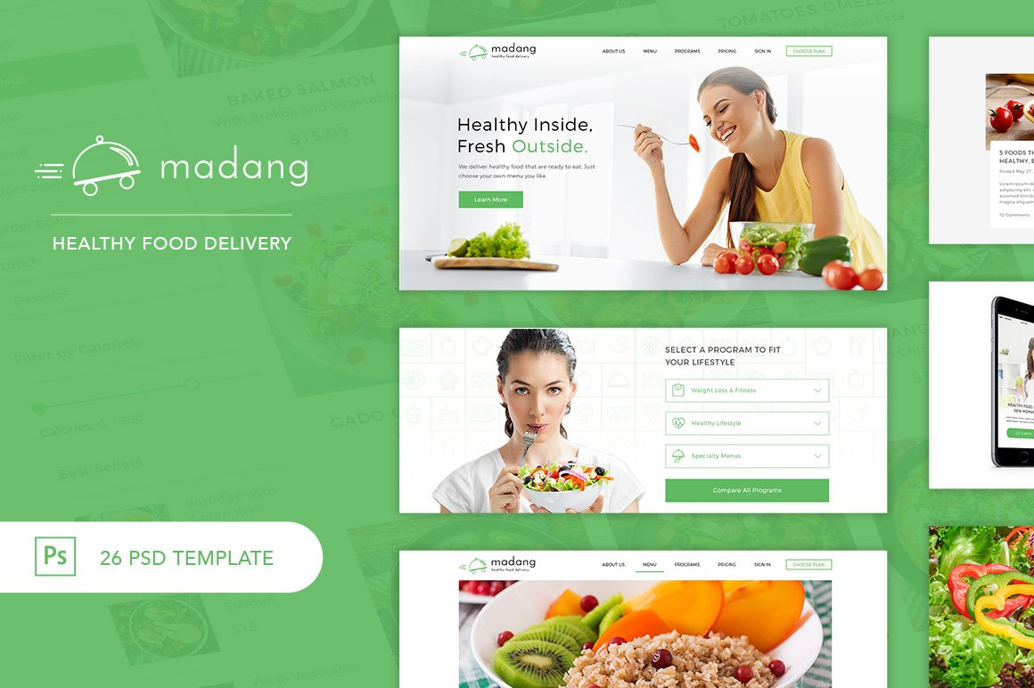 madang healthy food delivery psd website templates creative market. Black Bedroom Furniture Sets. Home Design Ideas