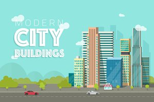 City Buildings Landscape Vector Set