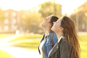 girls breathing fresh air