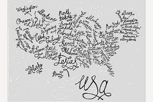 USA Hand Drawn Map