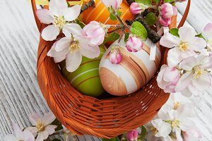 Easter eggs and spring apple blossom