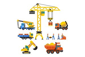 Under construction technic vector illustration