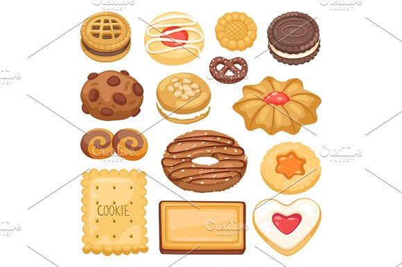 Different cookie cake isolated vector illustration