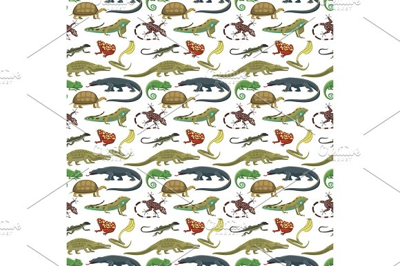 Reptiles Animals Vector Seamless Pattern