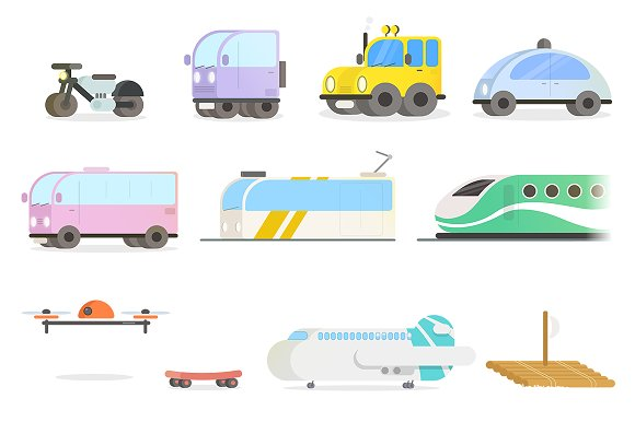Modern Vehicles Set in Graphics