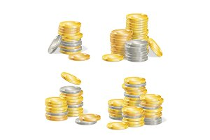 Realistic Coin Stack Set.