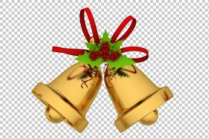 Christmas Bells - 3D Render PNG
